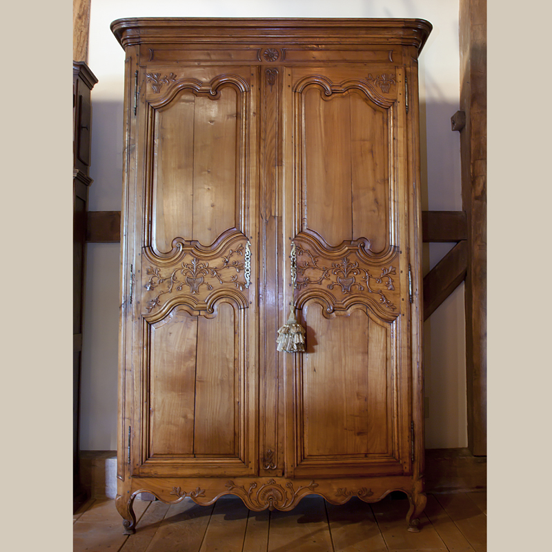 Country French and English Antique Furniture and Accessories - Cabinets -  antique & reproduction - Country French Armoire - Sold Cherry carved doors  of ... - Country French And English Antique Furniture And Accessories