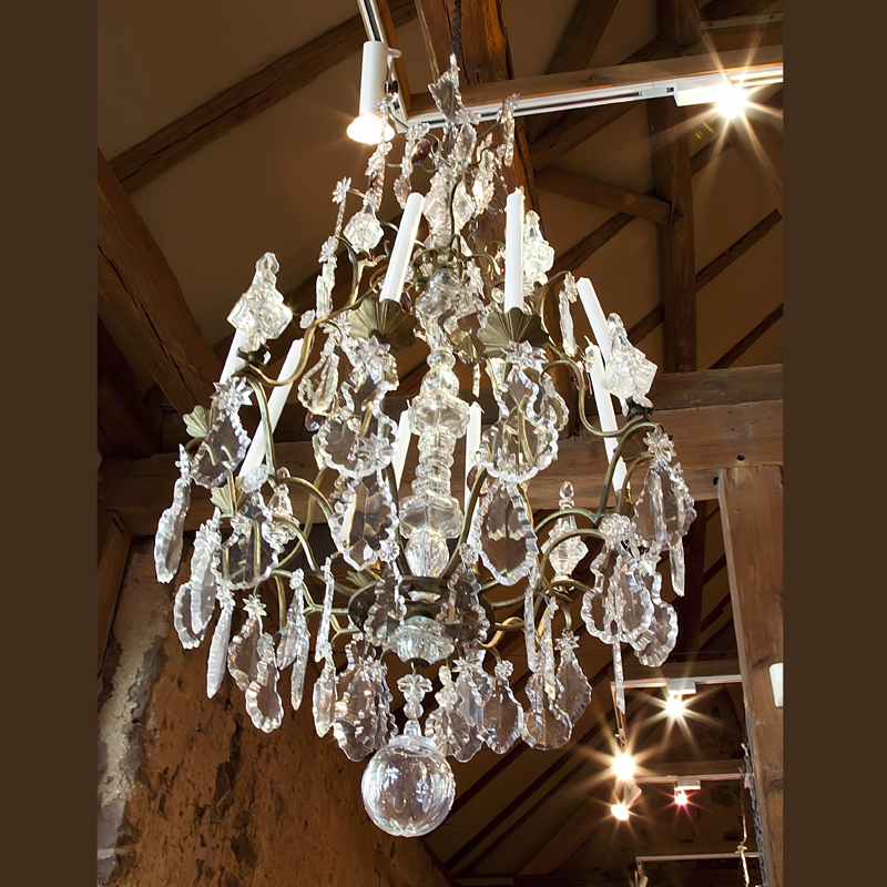 Country French and English Antique Furniture and Accessories - lighting - French  Crystal Chandelier - antique - Country French And English Antique Furniture And Accessories
