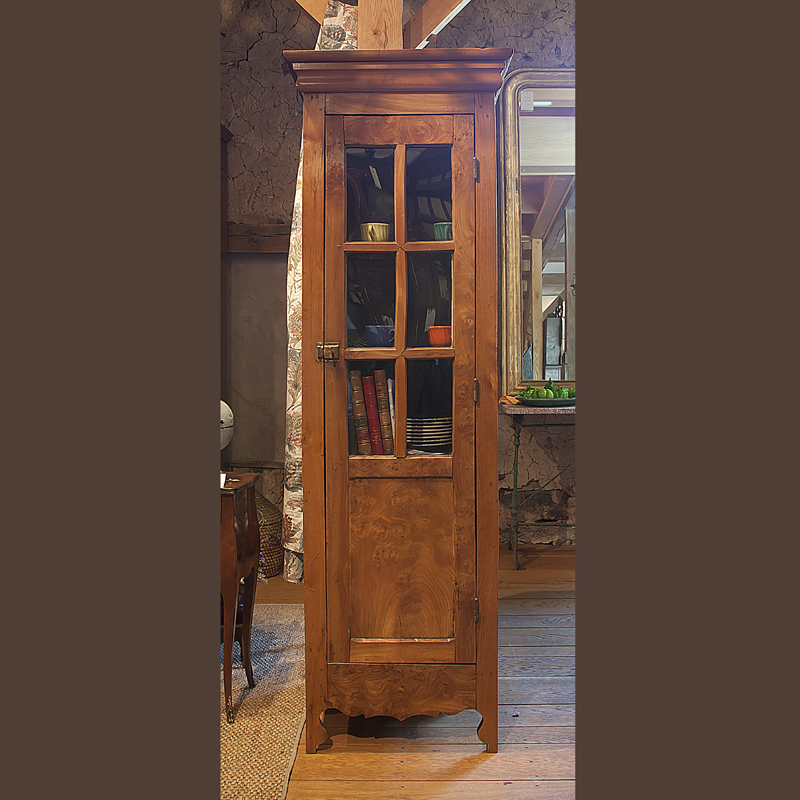 Narrow Cupboard - One door with glass panels in upper portion - Country French And English Antique Furniture And Accessories