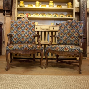 Needlepoint Pr. Arm Chairs - antique